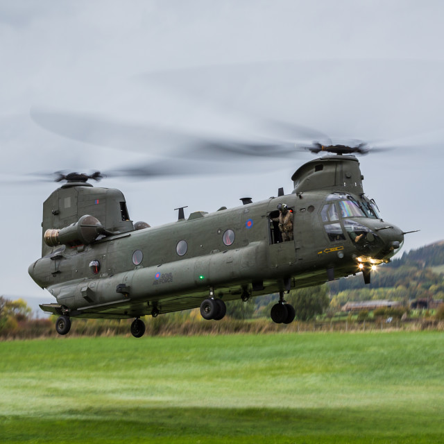 """RAF Chinook panorama"" stock image"