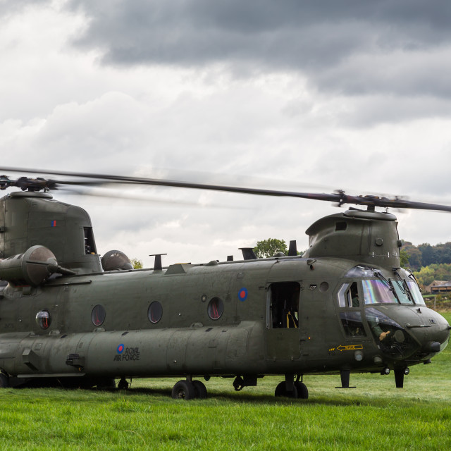 """RAF Chinook helicopter prepares to take off"" stock image"