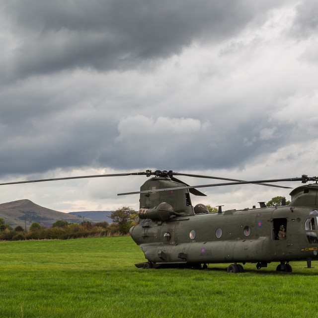 """RAF Chinook pair in a valley in the Peak District"" stock image"