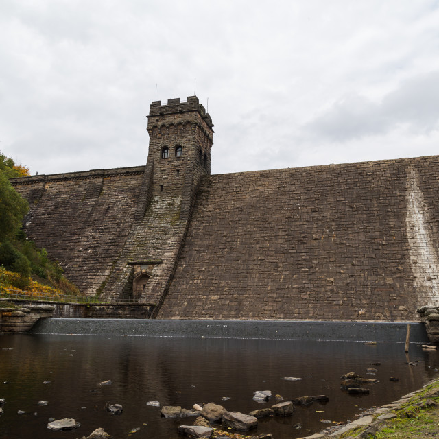 """Looking up at the Derwent Dam"" stock image"