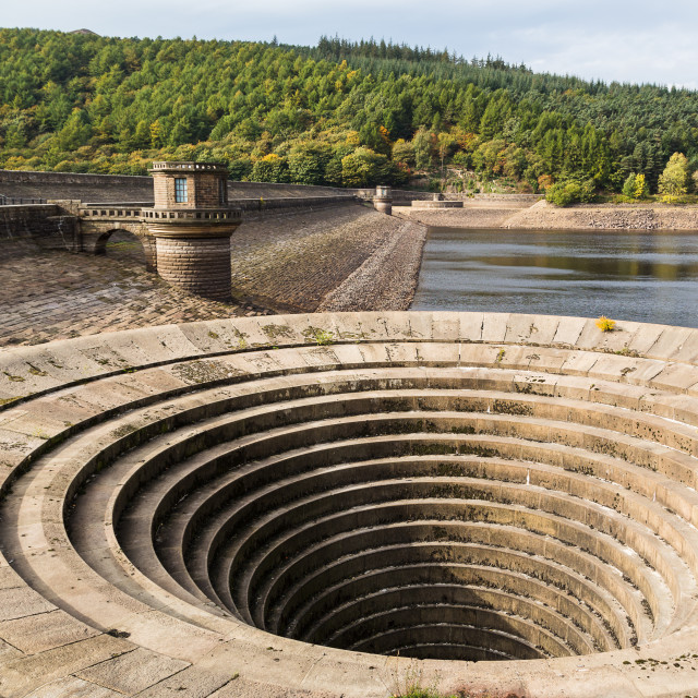 """Bellmouth overflow of the Ladybower Dam"" stock image"