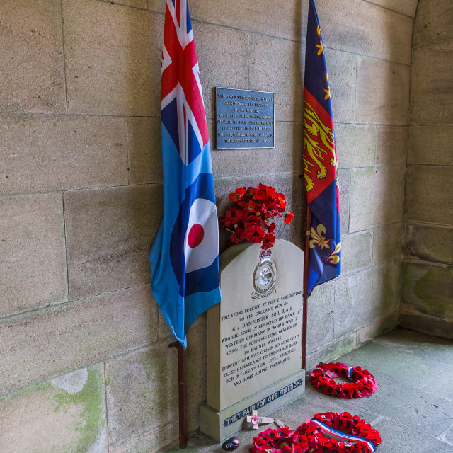 """Dambusters memorial at Derwent Dam"" stock image"