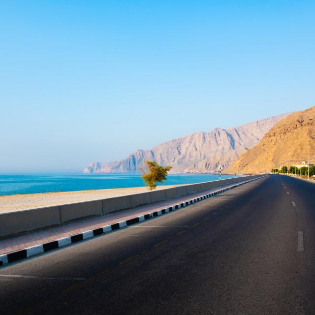 """Khasab Coastal road in Musandam Governorate of Oman"" stock image"