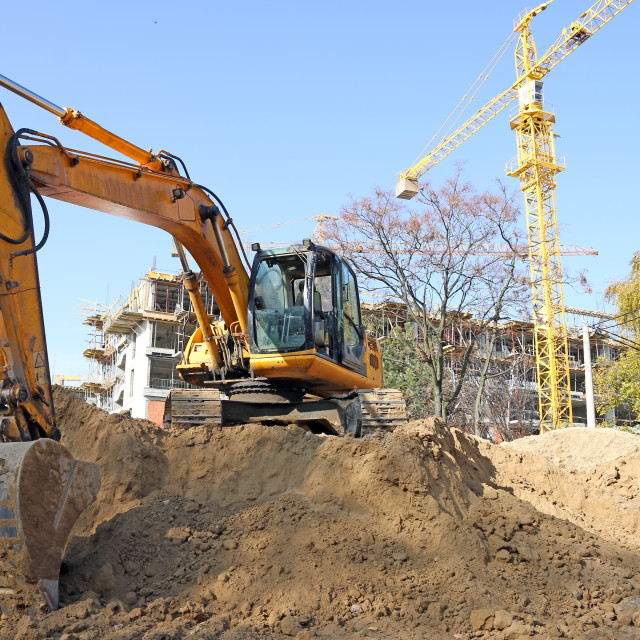 """""""excavator on construction site industry"""" stock image"""