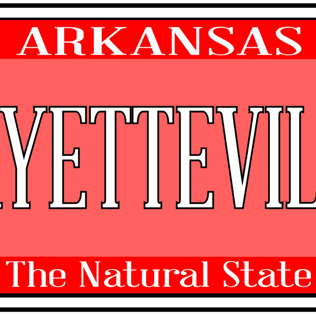 """Arkansas State License Plate With City Fayetteville"" stock image"