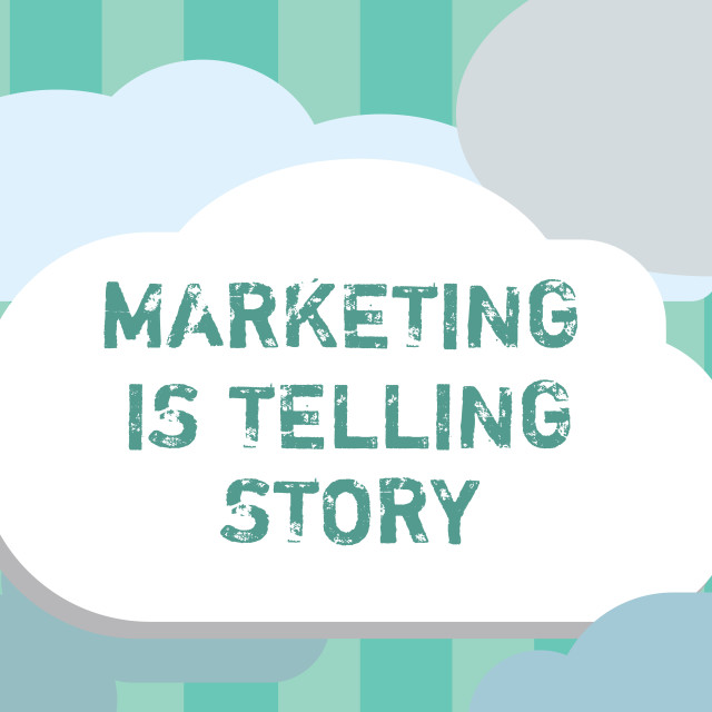 """""""Word writing text Marketing Is Telling Story. Business concept for Breathe..."""" stock image"""