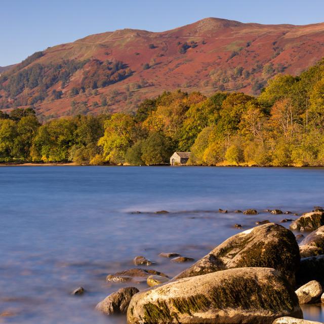 """The Boathouse - Ullswater - Autumn Colours"" stock image"