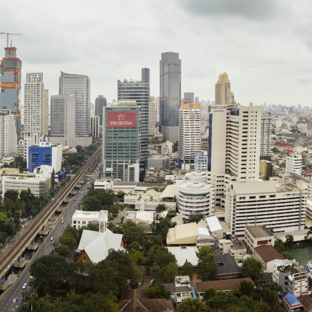 """Bangkok city centre, skyline, Skytrain station, Thailand. South-east Asia."" stock image"