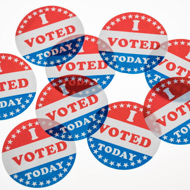 """""""I Voted Today paper stickers on white background"""" stock image"""