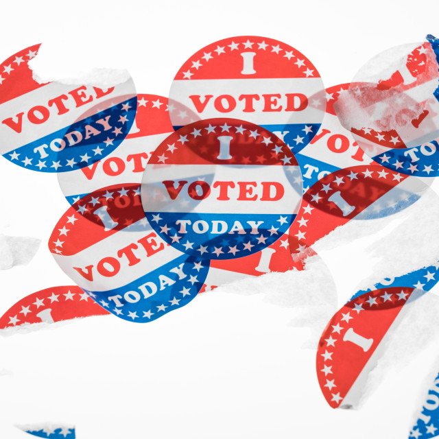 """""""Torn and defaced I Voted Today paper stickers on white background"""" stock image"""