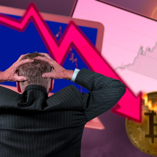 """Senior retired man worried about stock market crash"" stock image"