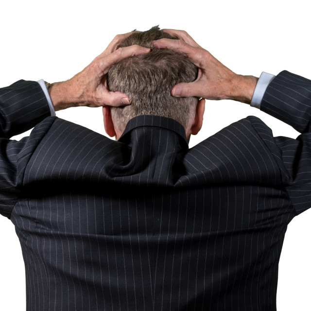 """""""Rear view of senior caucasian man worried and afraid"""" stock image"""