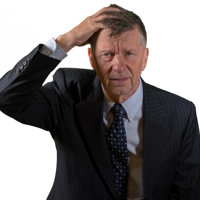 """""""Front view of senior caucasian man worried and afraid"""" stock image"""