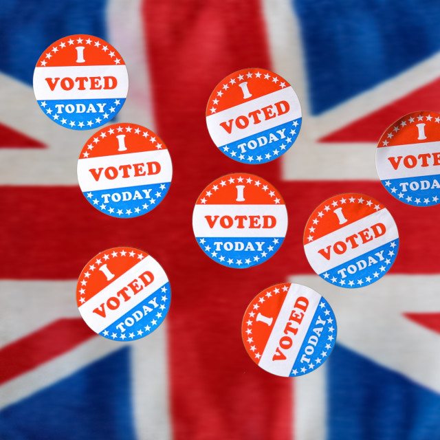 """""""Many I Voted Today paper stickers on UK Flag"""" stock image"""