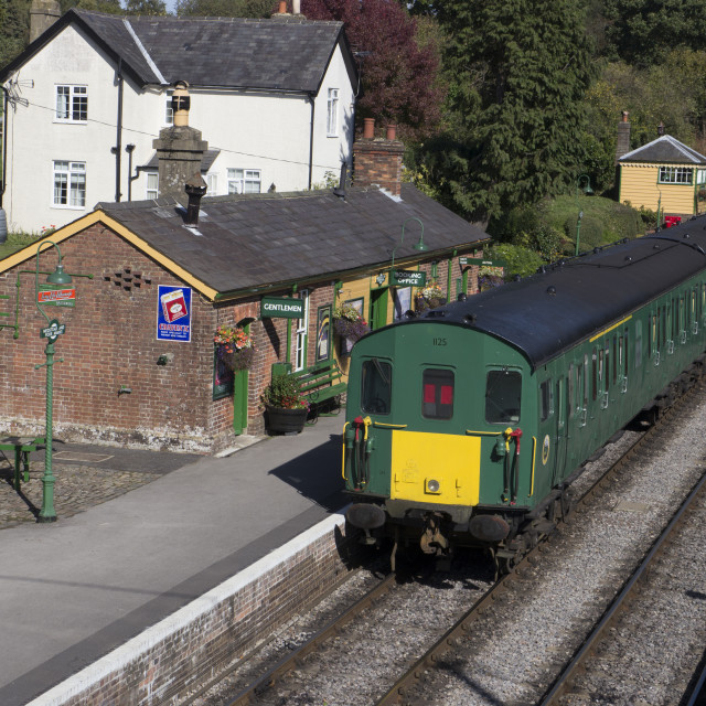 """Class 205 Diesel train at Medstead & Fourmarks Station . Mid Hants (..."" stock image"
