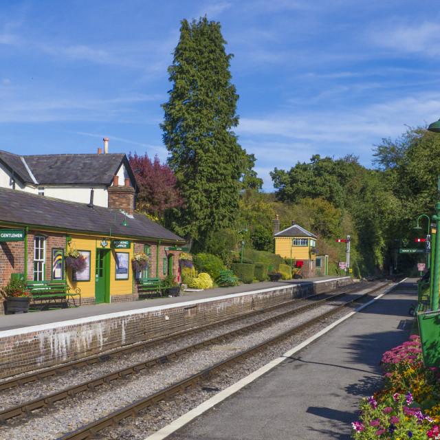 """Medstead & Fourmarks Station . Mid Hants ( Watercress Line ) Heritage Railway..."" stock image"