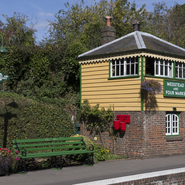 """Signal Box at Medstead & Fourmarks Station . Mid Hants ( Watercress Line )..."" stock image"