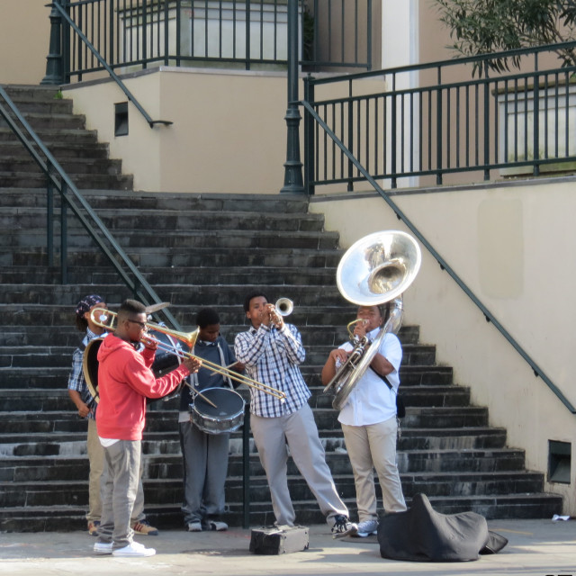 """Street band in New Orleans"" stock image"
