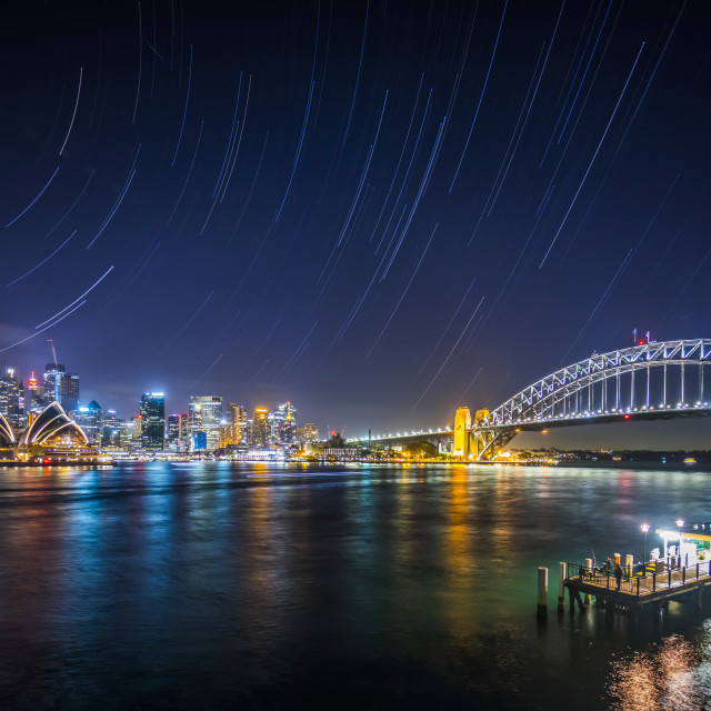 """Star trail at Sydney"" stock image"