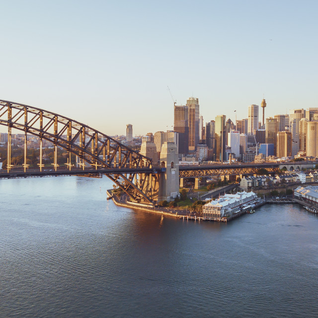 """Aerial view of Sydney city skyline during sunrise."" stock image"