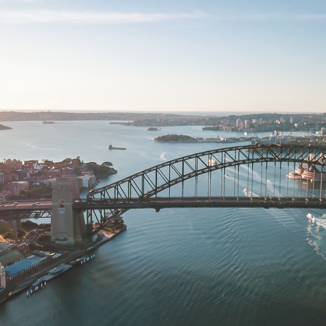 """Aerial Panoramic View of Beautiful Sunrise at Sydney City"" stock image"