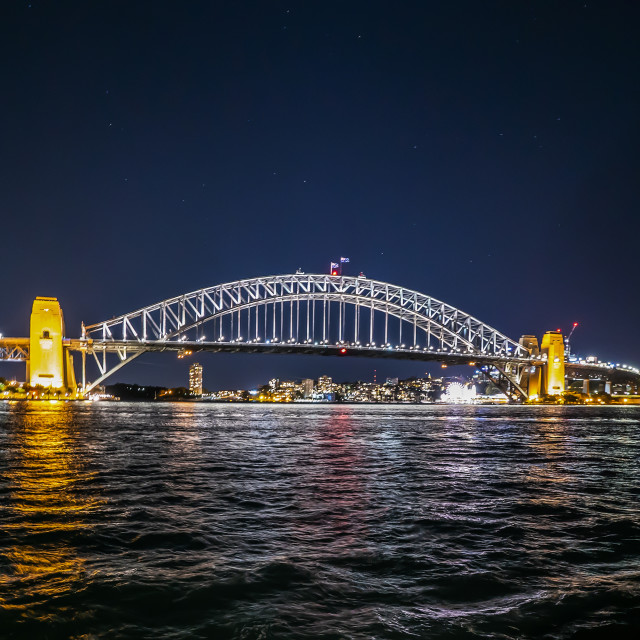 """Night scene at Sydney city skyline"" stock image"