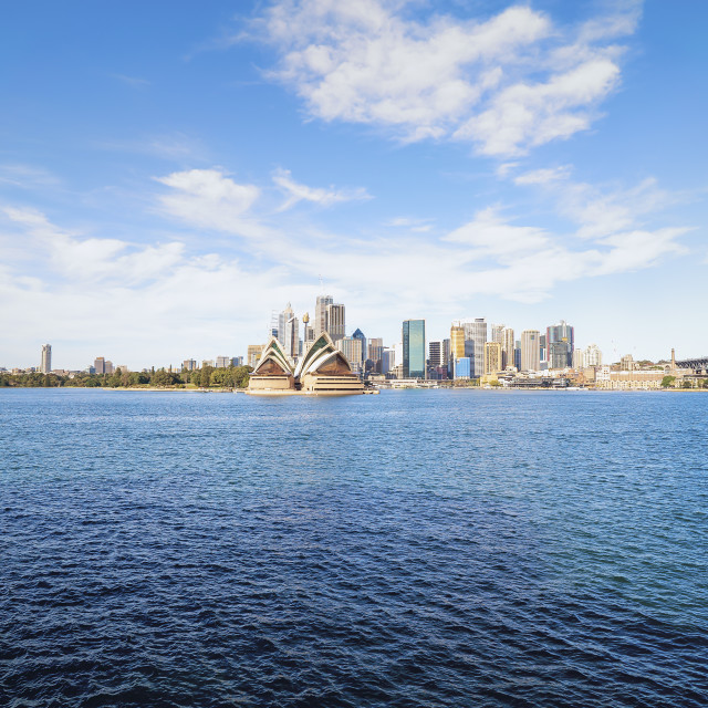 """Bright day light scene at Sydney city skyline"" stock image"