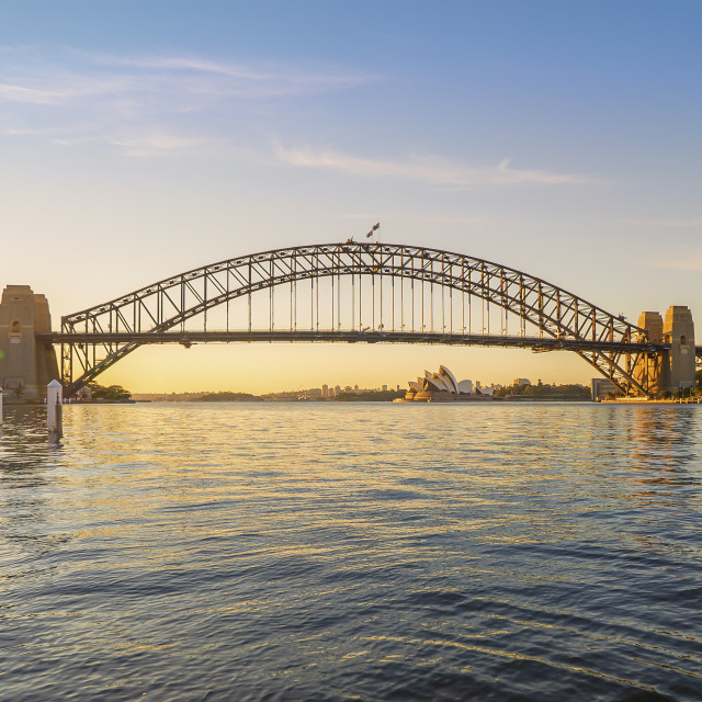 """Beautiful Sunrise at Sydney City Skyline"" stock image"