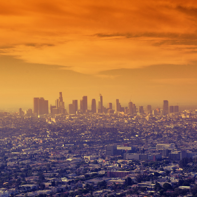 """Sunrise over downtown Los Angeles."" stock image"
