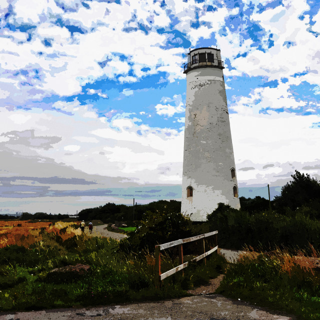 """Wirral's Leasowe Lighthouse (artistc interpretation)"" stock image"