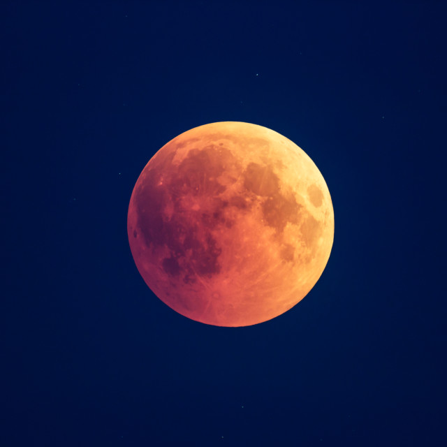 """""""Super Bloody Moon, beginning of full eclipse phase against blue starry sky background"""" stock image"""