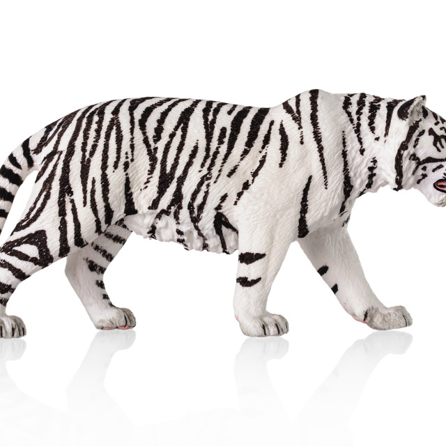 """""""White bengal tiger toy. Isolated over white background"""" stock image"""