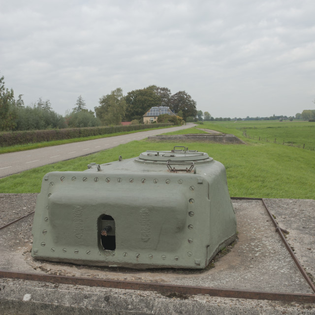 """Welsum Gelderland The Netherlands Concreted in Sherman Tanks along the dike..."" stock image"