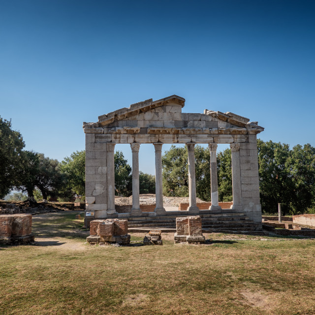 """Temple and theater in the ancient city of Apollonia in Albania"" stock image"
