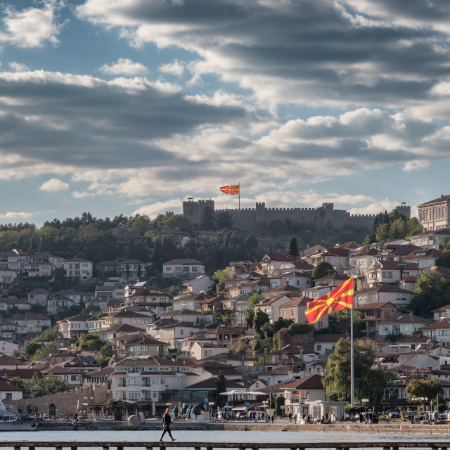 """Ohrid city panorama with fort and flags in Macedonia"" stock image"