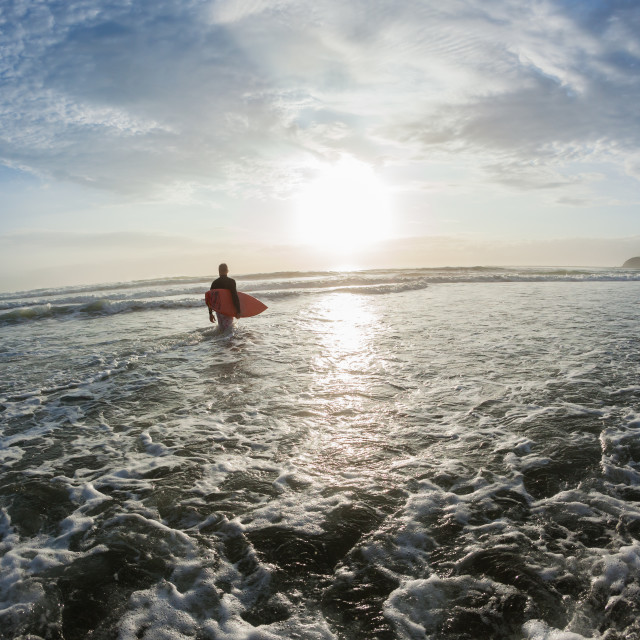"""Surfer Beach Entry Ocean Morning Surfing"" stock image"