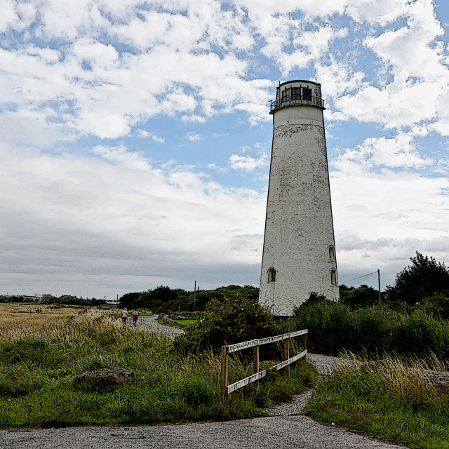"""""""Wirral's Iconic Leasowe Lighthouse (Artistic application)"""" stock image"""