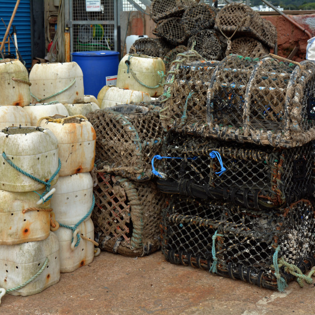 """Paignton - Lobster pots"" stock image"