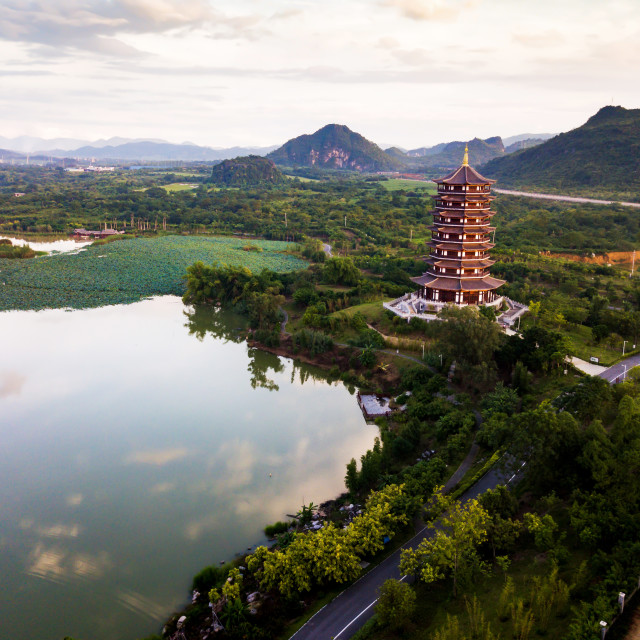 """""""Chinese park with lotus flowers lake aerial"""" stock image"""
