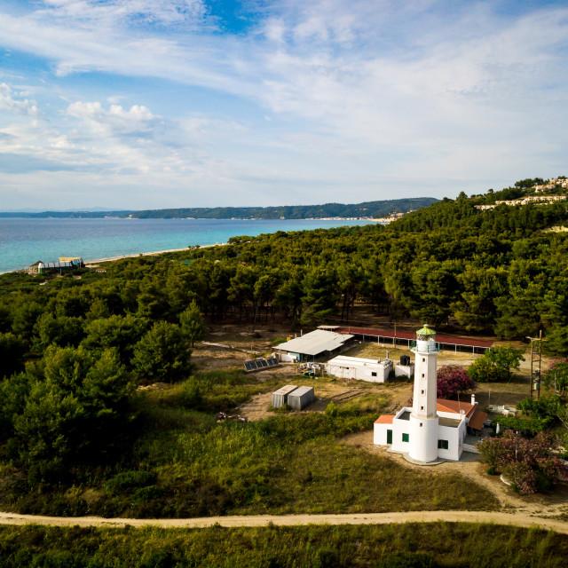 """Posidi lighthouse in Kassandra peninsula at Chalkidiki Greece"" stock image"