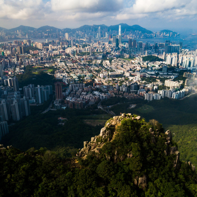 """""""Aerial view of foggy Hong Kong island downtown"""" stock image"""