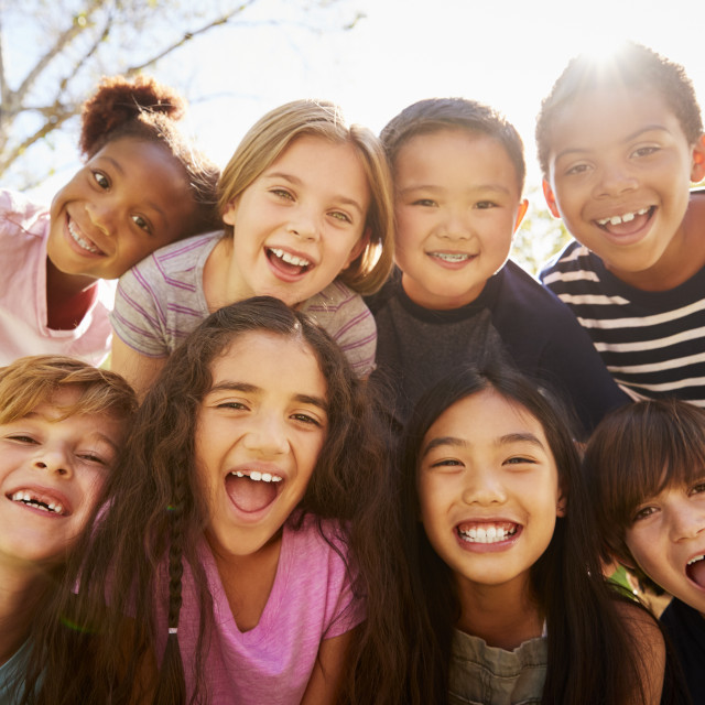 """Multi-ethnic group of schoolchildren on school trip, smiling"" stock image"