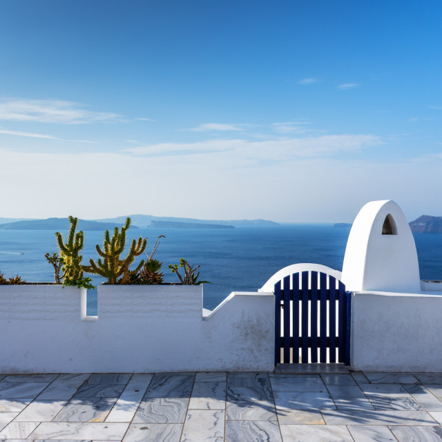 """""""Santorini, Greece. Picturesque view of traditional cycladic Santorini houses on cliff"""" stock image"""