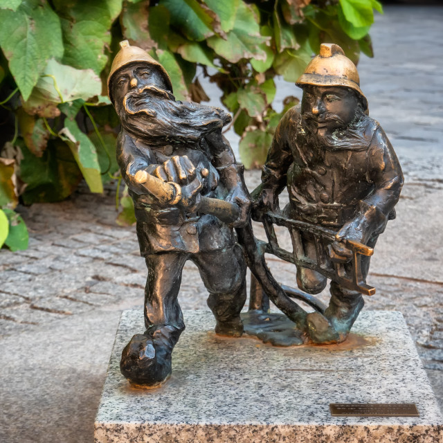 """Gnomes Elfs small statues in Wroclaw in Poland"" stock image"
