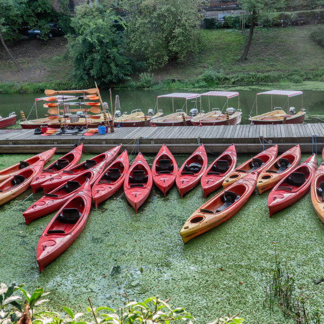 """Canoes in Wroclaw at the river Odra in Wroclaw in Poland"" stock image"