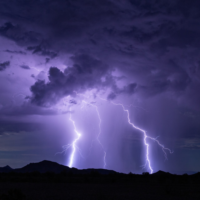 """Lightning bolt strike storm background."" stock image"