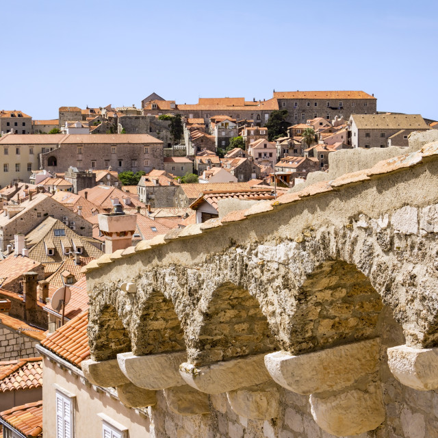 """""""View from the fortress Dubrovnik on parts of the medieval city"""" stock image"""