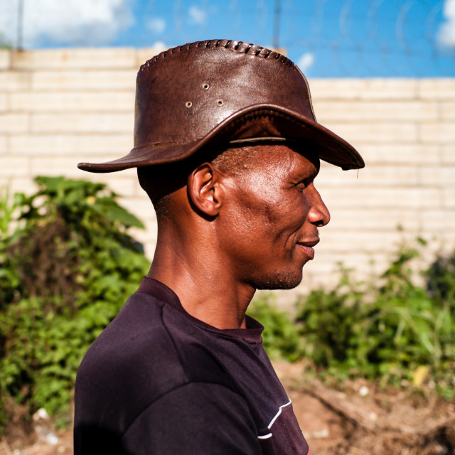 """Man with a Leather Hat"" stock image"