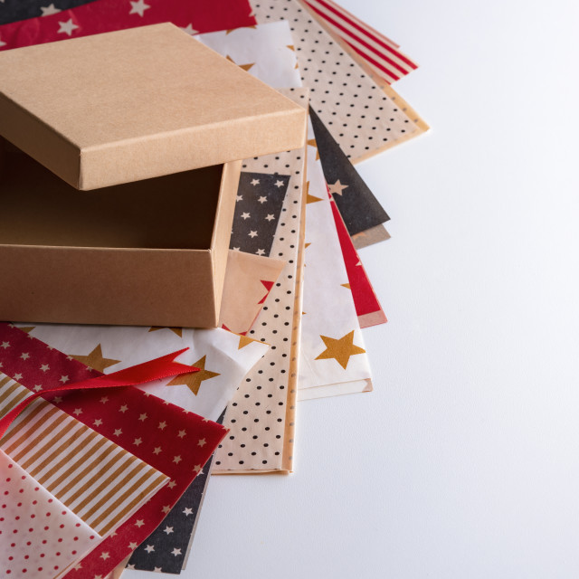 """""""Gift box and colorful wrapping papers"""" stock image"""
