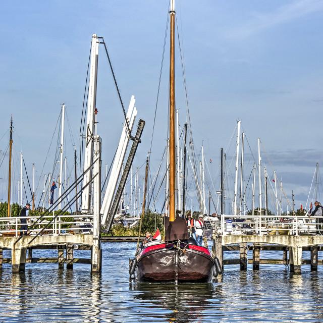 """Drawbridge open for historic barge"" stock image"